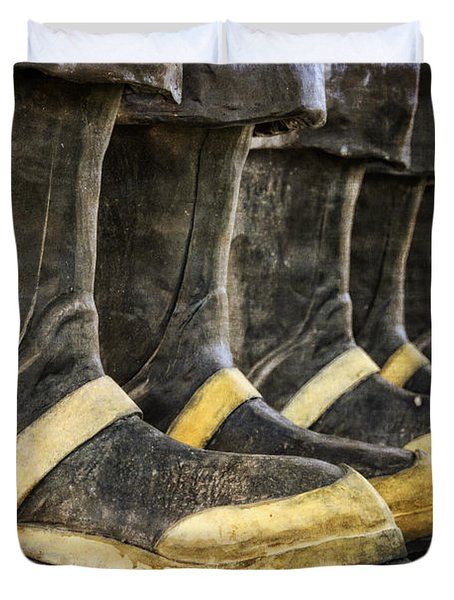 Boots On The Ground Duvet Cover by Joan Carroll