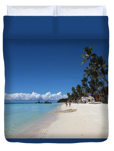 Duvet Cover featuring the photograph Boracay Beach by Joey Agbayani