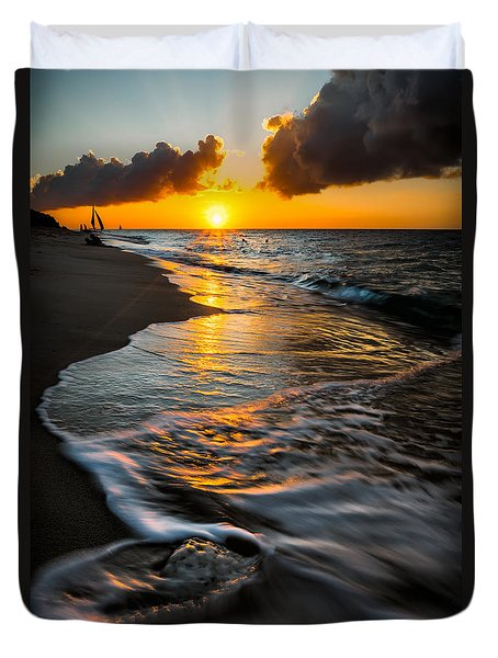 Boracay Sunset Duvet Cover by Adrian Evans