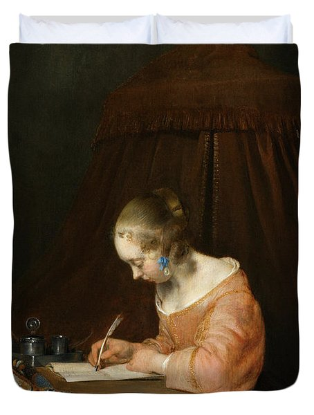 Borch Woman Writing, C1655 Duvet Cover