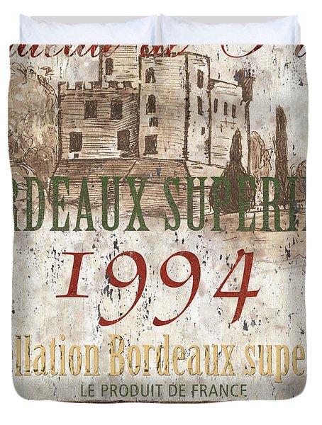 Bordeaux Blanc Label 2 Duvet Cover by Debbie DeWitt