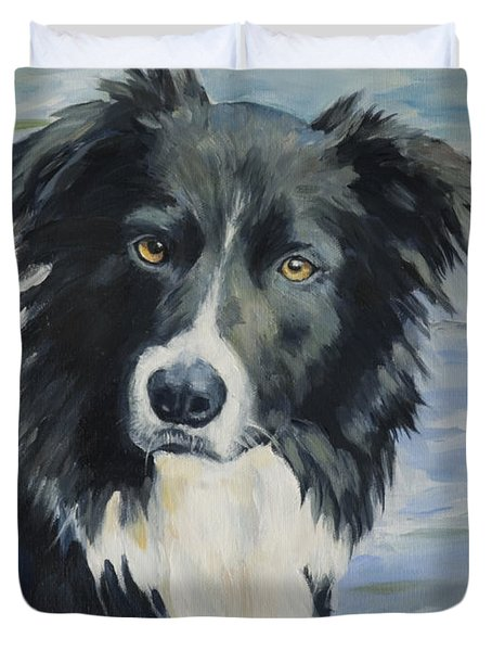 Border Collie Portrait Duvet Cover