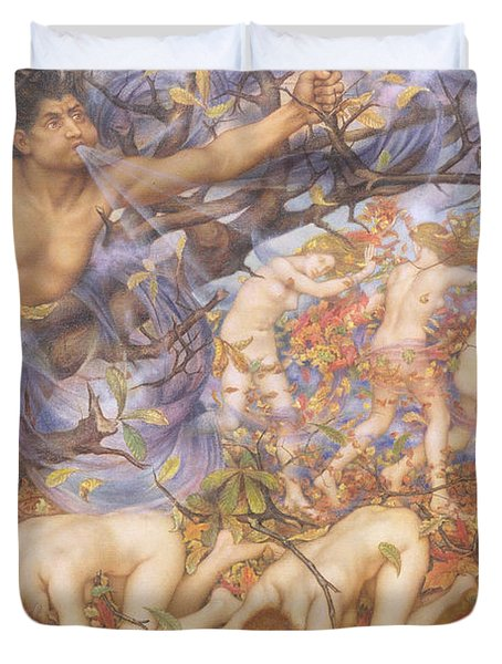 Boreas And Fallen Leaves Duvet Cover by Evelyn De Morgan