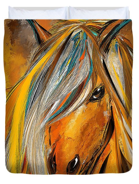 Born Free-colorful Horse Paintings - Yellow Turquoise Duvet Cover