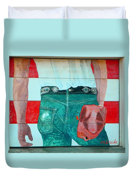 Born In The Usa Urban Garage Door Mural Duvet Cover