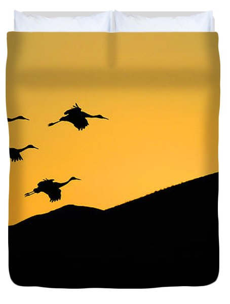 Bosque Del Apache Last Light Duvet Cover by Bob Christopher