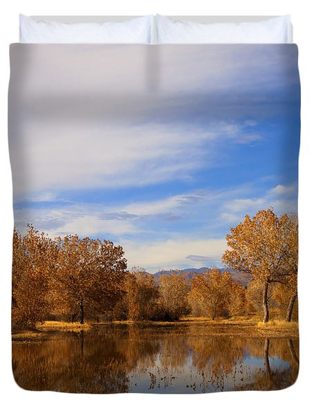 Bosque Del Apache Reflections Duvet Cover by Mike  Dawson