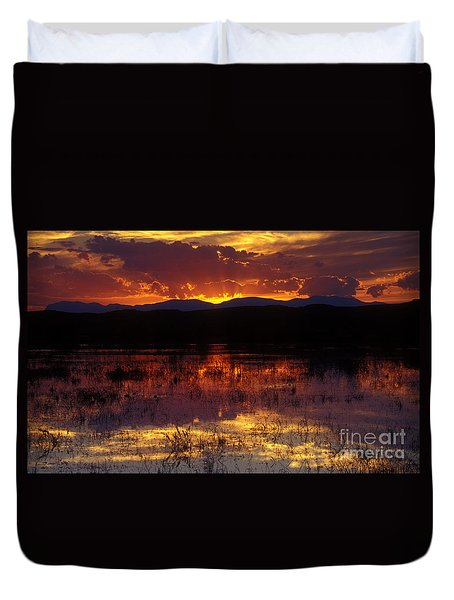 Bosque Sunset - Orange Duvet Cover by Steven Ralser