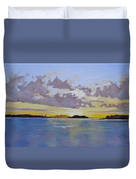 Boston A Glow Two Duvet Cover by Laura Lee Zanghetti