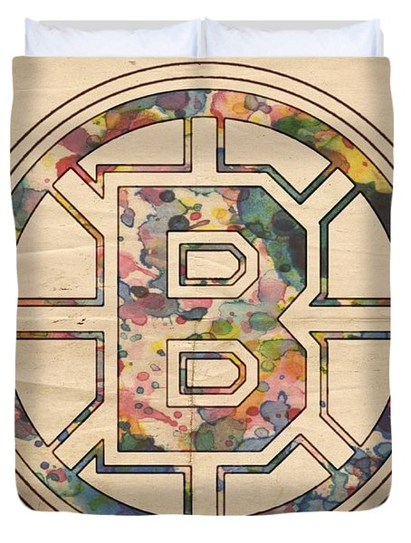 Boston Bruins Poster Art Duvet Cover