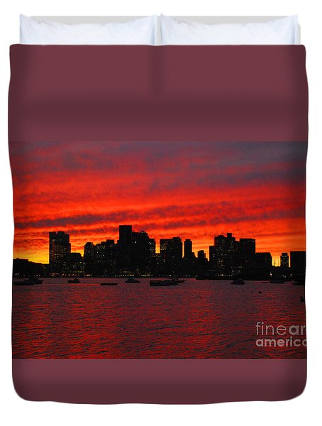 Boston City Sunset Duvet Cover