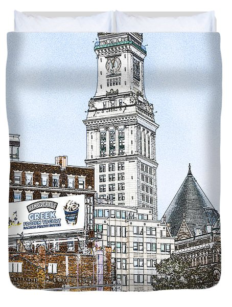 Boston Custom House Tower Duvet Cover by Fred Larson