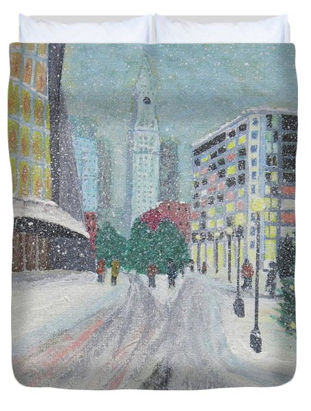Boston First Snow Duvet Cover