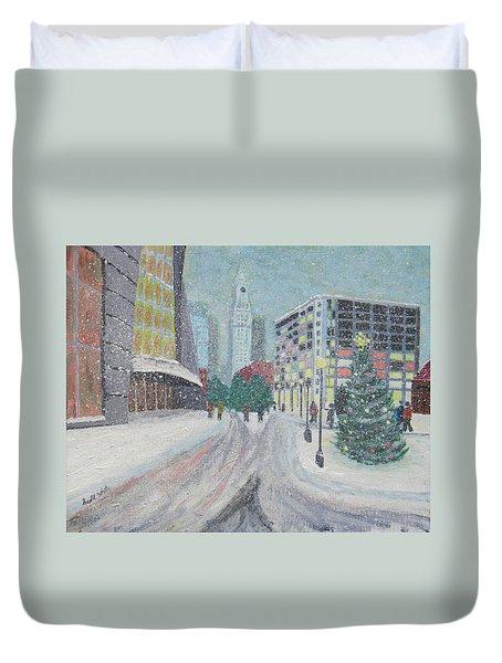 Boston First Snow Duvet Cover