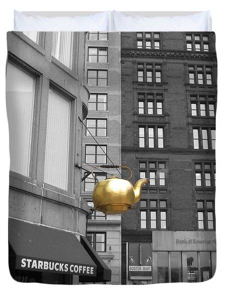 Boston Golden Teapot Duvet Cover by Cheryl Del Toro