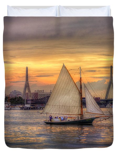Boston Harbor Sunset Sail Duvet Cover