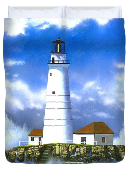 Boston Light Duvet Cover by MGL Studio - Chris Hiett