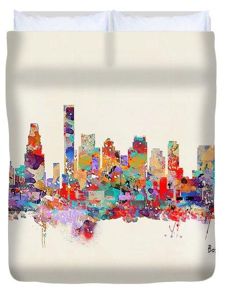boston Massachusetts skyline square   Duvet Cover