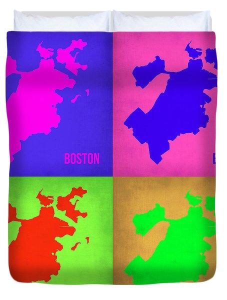Boston Pop Art Map 1 Duvet Cover by Naxart Studio