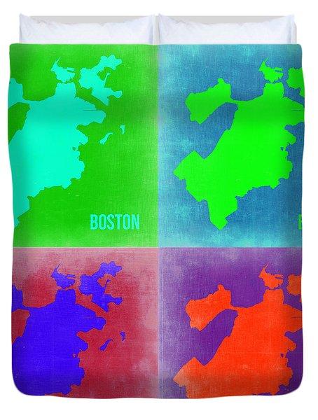 Boston Pop Art Map 2 Duvet Cover