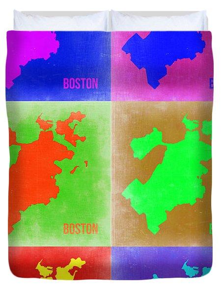 Boston Pop Art Map 3 Duvet Cover by Naxart Studio