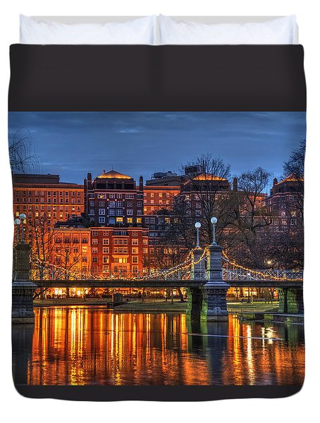 Boston Public Garden Lagoon Duvet Cover