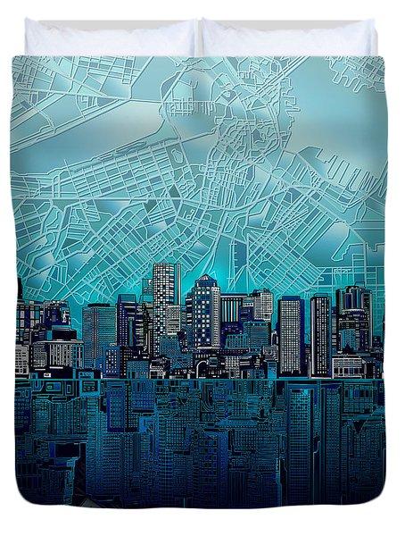 Boston Skyline Abstract Blue Duvet Cover
