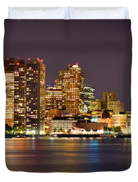 Boston Skyline At Night Panorama Duvet Cover by Jon Holiday
