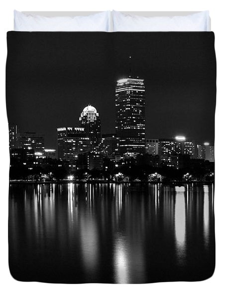 Boston Skyline By Night - Black And White Duvet Cover