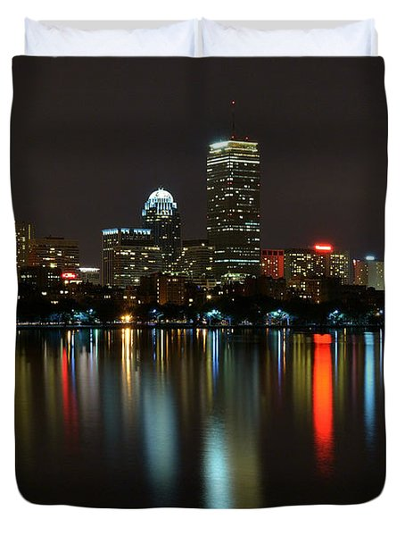Boston Skyline By Night Duvet Cover