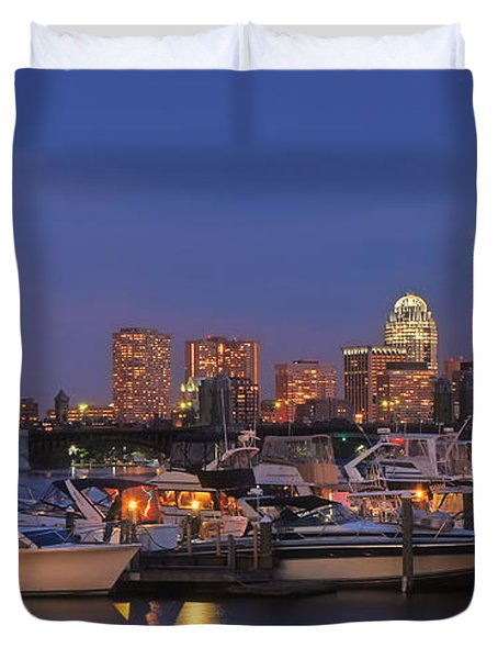 Boston Skyline In Blue And Gold Duvet Cover by Joann Vitali