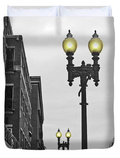 Duvet Cover featuring the photograph Boston Streetlamps by Cheryl Del Toro