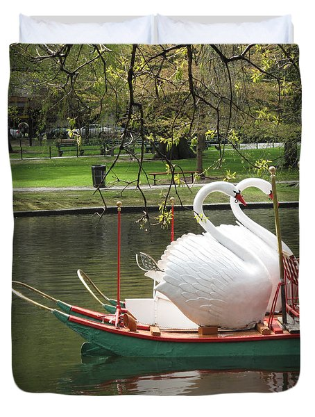 Boston Swan Boats Duvet Cover