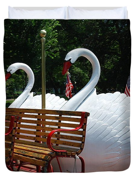 Duvet Cover featuring the photograph Boston Swans by Caroline Stella