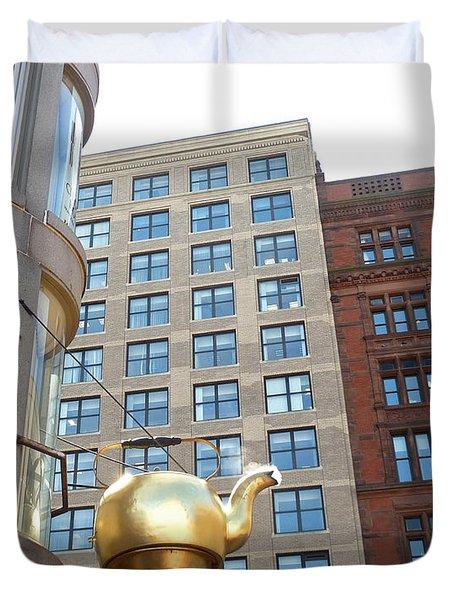 Boston Teapot - Color Duvet Cover by Cheryl Del Toro