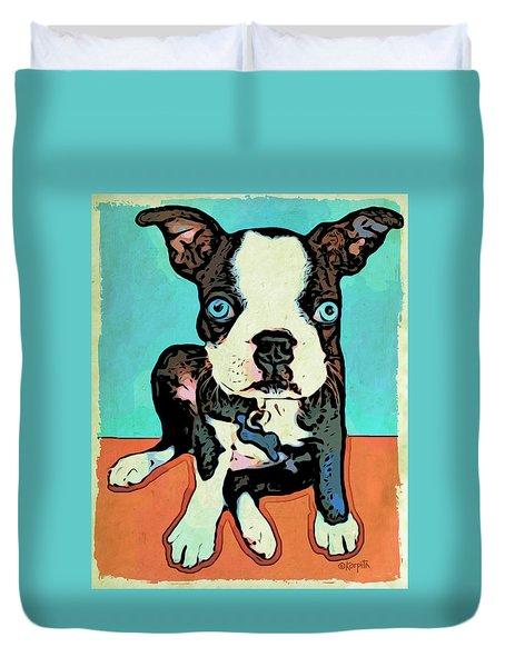 Boston Terrier - Blue Duvet Cover