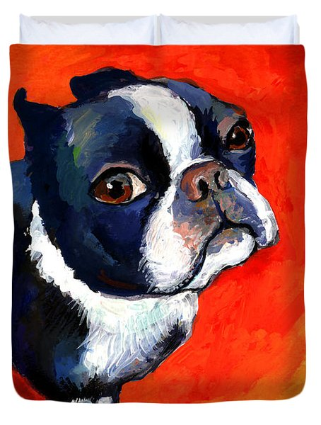 Boston Terrier Dog Painting Prints Duvet Cover