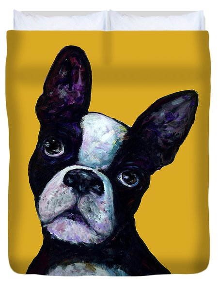 Boston Terrier On Yellow Duvet Cover