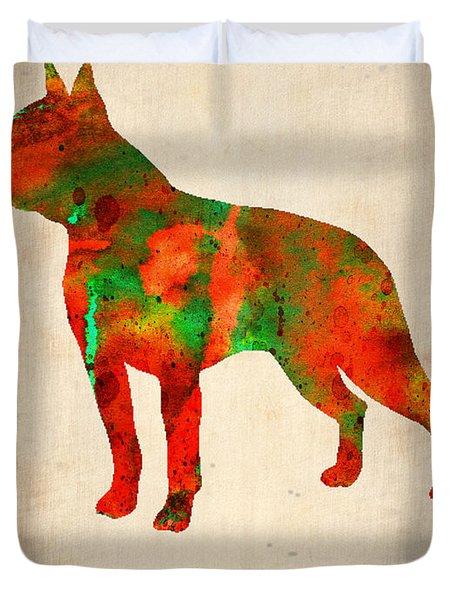Boston Terrier Poster Duvet Cover by Naxart Studio