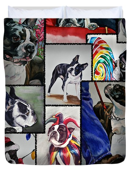 Boston Terrier Watercolor Collage Duvet Cover