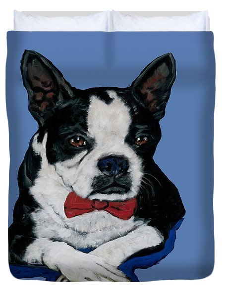 Boston Terrier With A Bowtie Duvet Cover