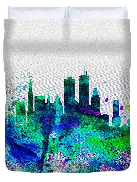 Boston Watercolor Skyline Duvet Cover by Naxart Studio