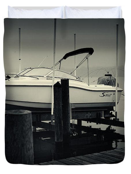 Boston Whaler In The Fog Duvet Cover by Fran Gallogly
