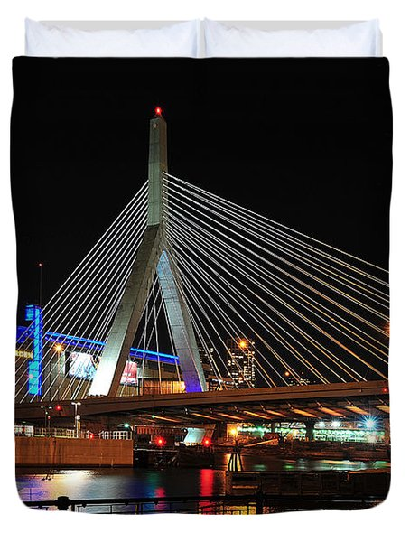 Duvet Cover featuring the photograph Boston's Zakim-bunker Hill Bridge by Mitchell R Grosky