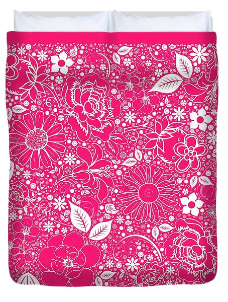 Botanical Beauties Hot Pink Duvet Cover