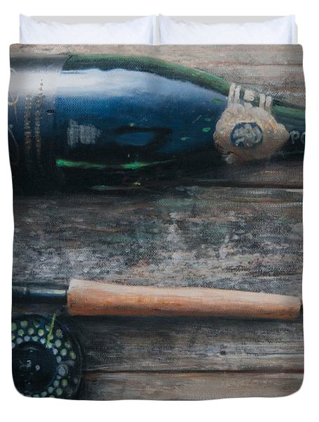 Bottle And Rod I Duvet Cover by Lincoln Seligman
