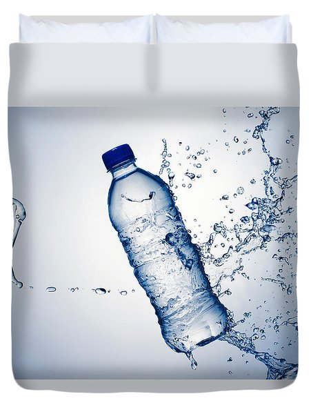 Bottle Water And Splash Duvet Cover by Johan Swanepoel