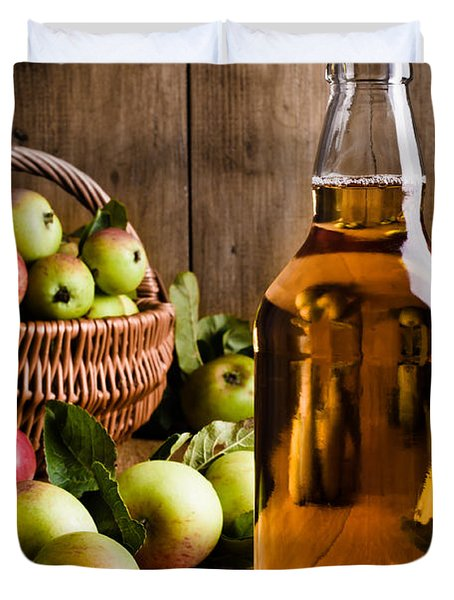 Bottled Cider With Apples Duvet Cover by Amanda Elwell