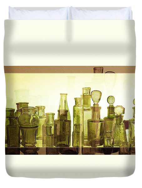 Duvet Cover featuring the photograph Bottled Light by Holly Kempe