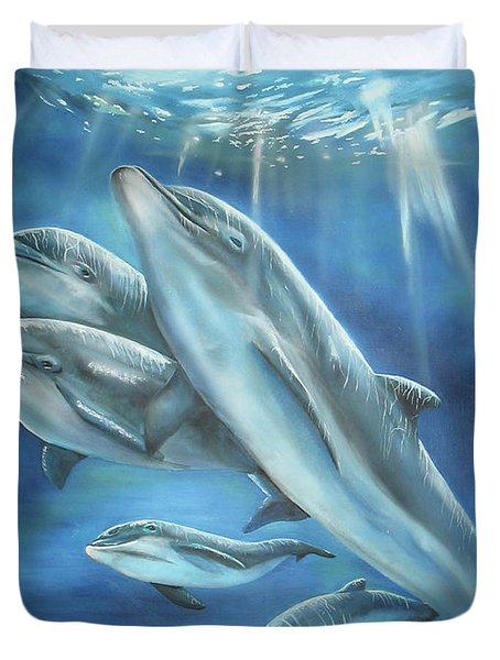 Duvet Cover featuring the painting Bottlenose Dolphins by Thomas J Herring